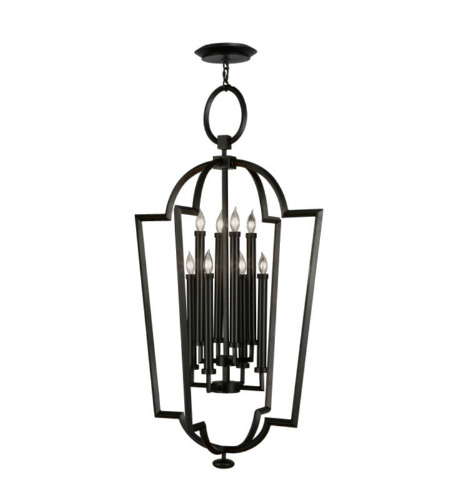 Fine Art Lamps 780440-6ST Black White Story 8 Light Lantern In A Black Satin Lacquer Finish