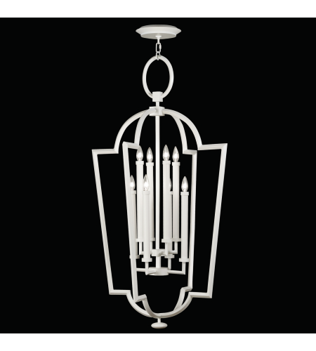 Fine Art Lamps 780440-5ST Black White Story 8 Light Lantern In A Studio White Satin Lacquer Finish