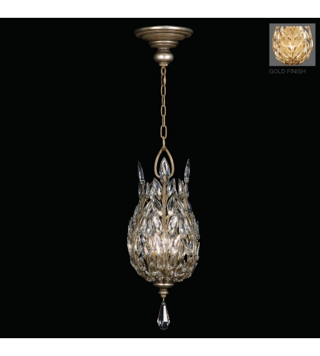 Fine Art Lamps 804640-2ST Crystal Laurel Gold 3 Light Lantern In Antiqued Gold Leaf Finish With Stylized Faceted Crystal Leaves