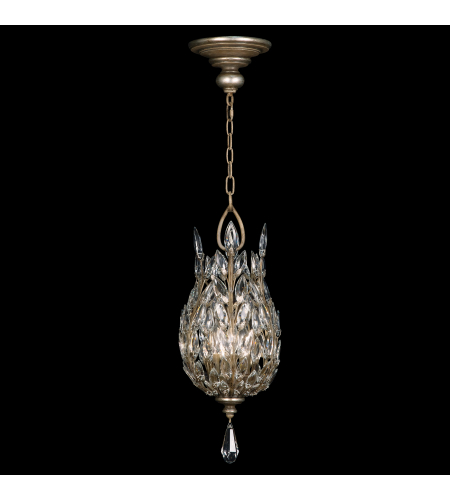 Fine Art Lamps 804640ST Crystal Laurel 3 Light Lantern In Antiquated Warm Silver Leaf Finish With Stylized Faceted Crystal Leaves