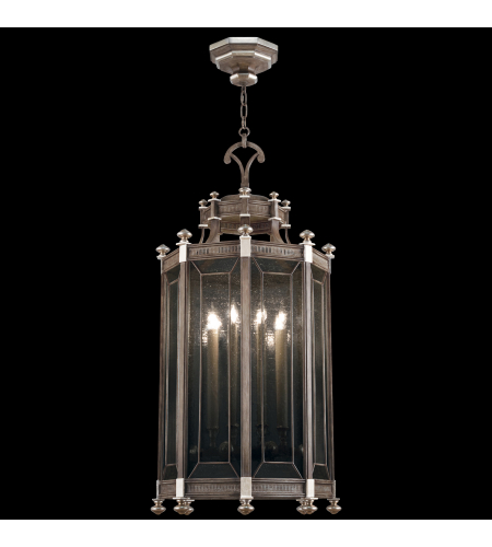 Fine Art Lamps 807640ST Villa Vista 8 Light Lantern In Hand Painted Driftwood Finish On Metal With Silver Leafed Accents And Hand--Blown Seedy Glass Panels