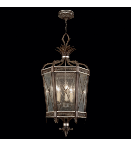 Fine Art Lamps 809440ST Villa Vista 5 Light Lantern In Hand Painted Driftwood Finish On Metal With Silver Leafed Accents And Hand-Blown Seedy Glass Panels