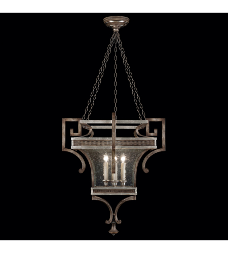Fine Art Lamps 811940ST Villa Vista 6 Light Lantern In Hand Painted Driftwood Finish On Metal With Silver Leafed Accents And Hand-Blown Seedy Glass Panels