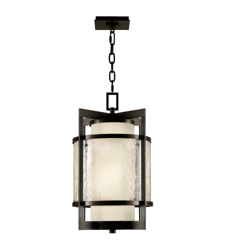 Fine Art Lamps 817482ST Singapore Moderne Outdoor 2 Light Outdoor Lantern In Dark Bronze Patina Finish With Off-White Interior Glass Surrounded By A Clear TexturedOuter Glass