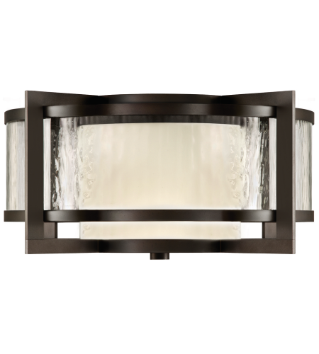 Fine Art Lamps 817982ST Singapore Moderne Outdoor 2 Light Outdoor Flush Mount In Dark Bronze Patina Finish With Off-White Interior Glass Surrounded By A Clear TexturedOuter Glass