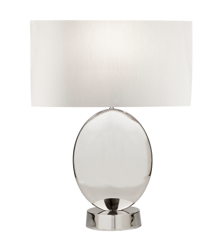 Fine Art Lamps 826010ST Grosvenor Square 1 Light Transitional Brass Table Lamp In Polished Nickel Finish With Almond Shaped Laminated White Fabric Shade And Stream-Lined Rolled-Over Edges