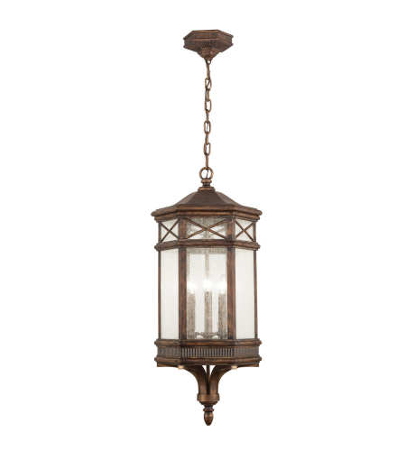 Fine Art Lamps 837082ST Holland Park 3 Light Classical Greek Inspired Hexagonal Lantern In A Warm Antique Bronze Finish With Hand Cast Seedy Glass And Romantic Candles