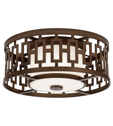Fine Art Lamps 838682ST River Oaks 3 Light Round Outdoor Flush Mount In Dark Bronze With Conforming Off White Round Glass Shade