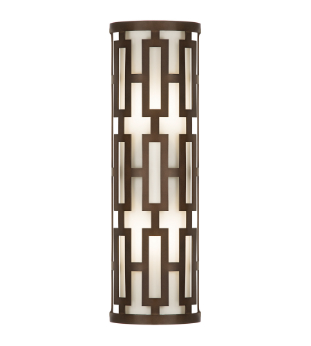 Fine Art Lamps 840081ST River Oaks 2 Light Oval Outdoor Coupe Sconce In Dark Bronze With Conforming Off White Oval Glass Shade