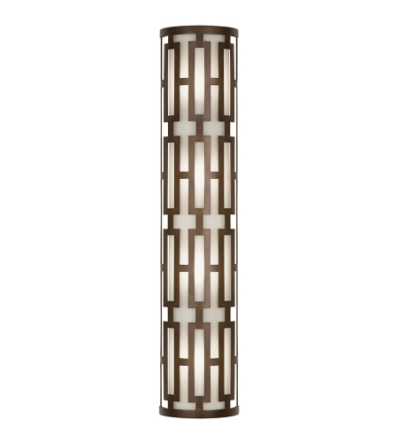 Fine Art Lamps 840181ST River Oaks 4 Light Oval Outdoor Coupe Sconce In Dark Bronze With Conforming Off White Oval Glass Shade