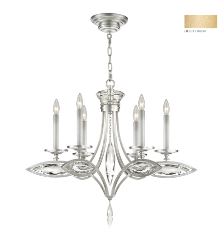Fine Art Lamps 843540-22st Marquise 6 Light Chandelier In Gold