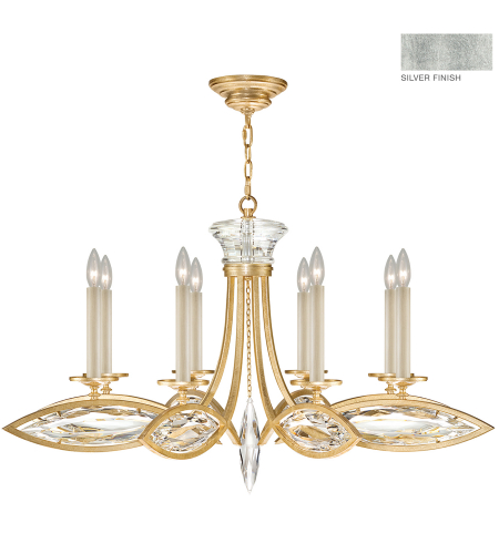 Fine Art Lamps 843940-12st Marquise 8 Light Chandelier In Silver