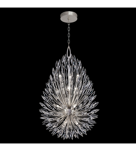 Fine Art Lamps 883940st Lily Buds 12 Light Pendant In Silver