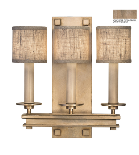 Fine Art Lamps 888950-2st Cienfuegos 3 Light Sconce In Weathered Gray Patina