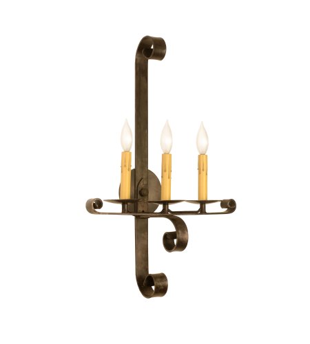 Fourteenth Colony 0114-3-STL-NAT 3-60w Candles Wall Mount in Natural Steel