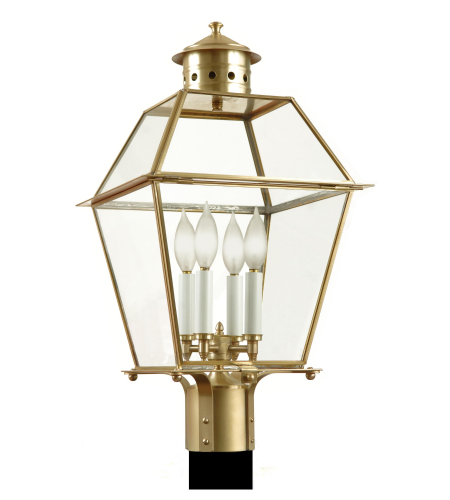 Fourteenth Colony 3410-4-RWB-CLR 4-40w Candles Clear Glass Post Mount in Raw Brass