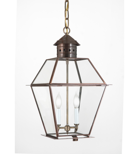 Fourteenth Colony 3422-2-AC-CLR 2-60w Candles Clear Glass Ceiling Mount in Antique Copper