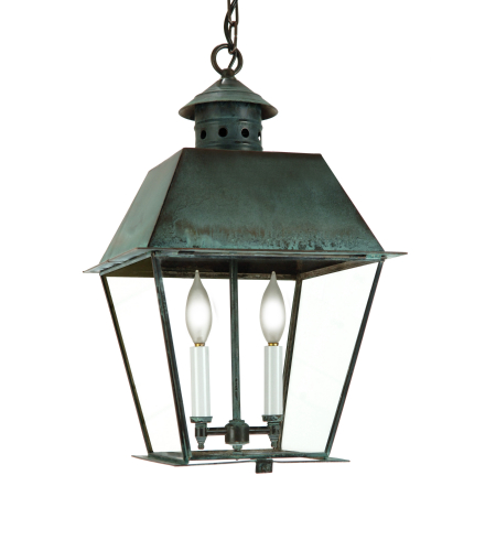 Fourteenth Colony 3452-2-CV-CLR 2-60w Candles Clear Glass Ceiling Mount in Copper Verde