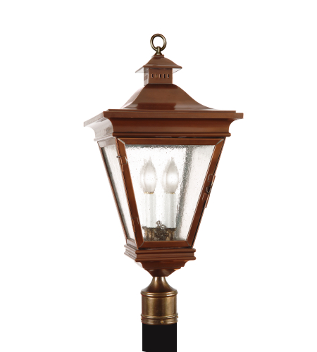 Fourteenth Colony 3520-4-AC-SDY 4-40w Candles Seedy Glass Post Mount in Antique Copper