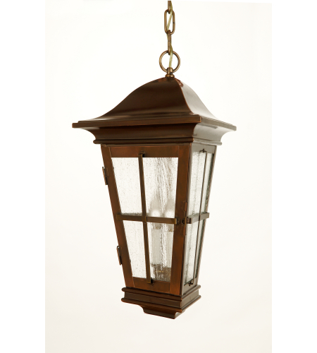 Fourteenth Colony 3542-3-AC-SDY 3-60w Candles Seedy Glass Ceiling Mount in Antique Copper