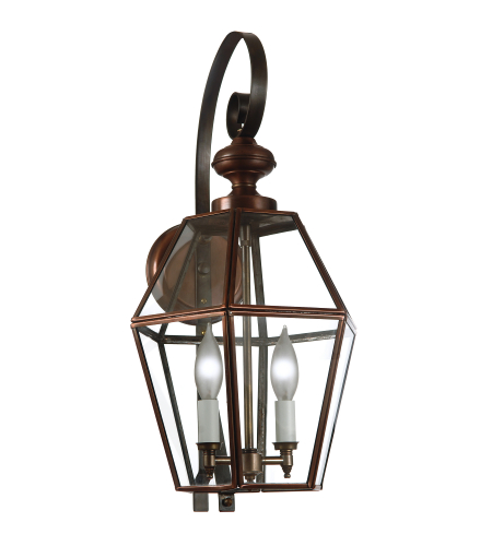 Fourteenth Colony 3761-2-AC-CLR 2-60w Candles Clear Glass Wall Mount in Antique Copper