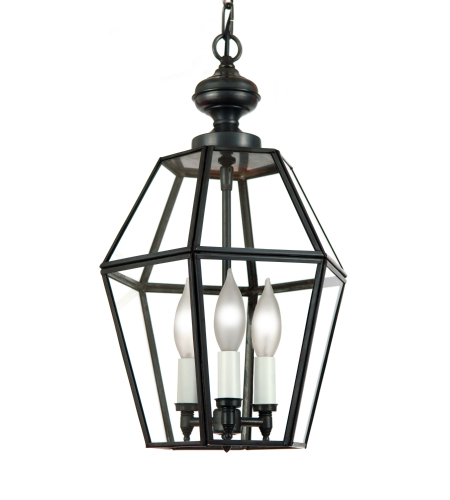 Fourteenth Colony 3762-3-DAC-CLR 3-60w Candles Clear Glass Ceiling Mount in Dark Antique Copper