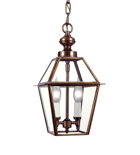Fourteenth Colony 4002-2-AB-CLR 2-60w Candles Clear Glass Ceiling Mount in Antique Brass