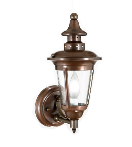 Fourteenth Colony 4481-1-AC-CLR 1-60w Candle Clear Glass Wall Mount in Antique Copper