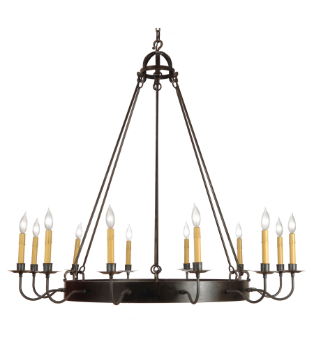 Fourteenth Colony 9650-12-STL-NAT 12-60w Candles Ceiling Mount in Natural Steel