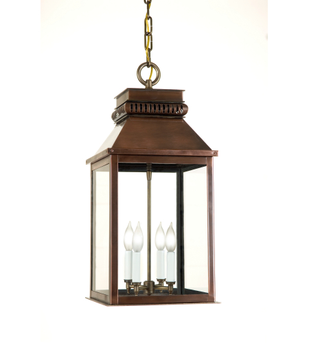 Fourteenth Colony NMC-H-4-AC-CLR 4-40w Candles Clear Glass Ceiling Mount in Antique Copper