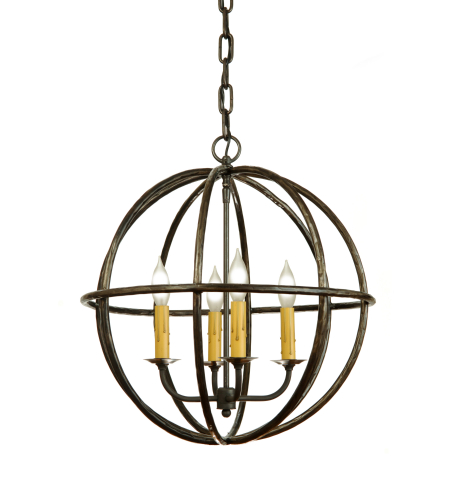 Fourteenth Colony ORB18-STL-NAT 4-60w Candles Ceiling Mount in Natural Steel