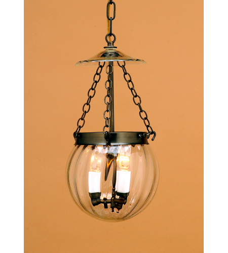 Fourteenth Colony PUMPKIN-AB-CLR 3-40w Candles Clear Glass Ceiling Mount in Antique Brass