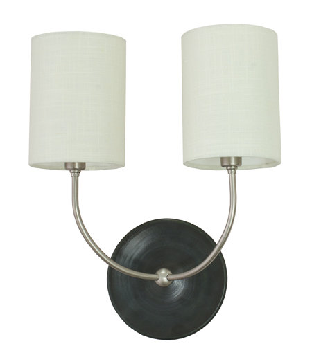 House Of Troy Gs775-2-Snbm 2 Light Scatchard Double Wall Lamp In Sn & Matt Back In Black Matte