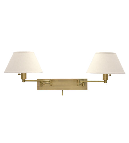 House Of Troy Ws14-2-71 2 Light Home/Office Double Wall Swing Satin Nickel In Antique Brass