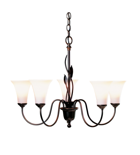 Hubbardton Forge 103052-Skt-03-Gg0067 5 Light Forged Leaves 5 Arm Chandelier Opal Glass In Mahogany