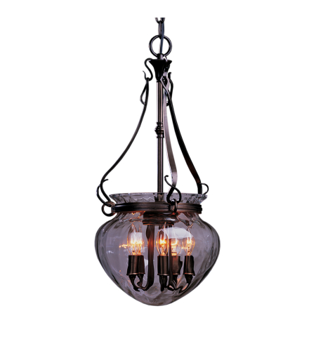 Hubbardton Forge 121024-Skt-03-Ll0095 5 Light Acharn Small Foyer Pendant Water Glass In Mahogany