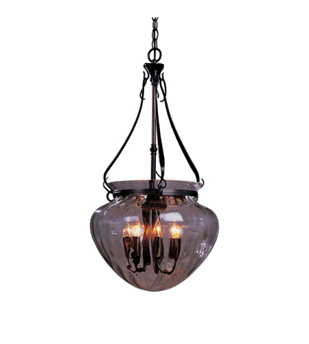 Hubbardton Forge 121026-Skt-03-Ll0096 7 Light Acharn Large Foyer Pendant Water Glass In Mahogany