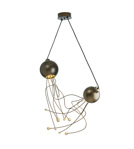 Hubbardton Forge 136360-Skt-Stnd-03-82 2 Light Duet Pendant In Mahogany