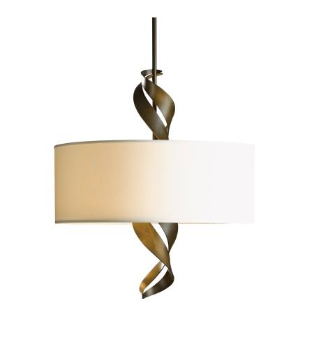 Hubbardton Forge 137685-Skt-Shrt-84-Se2201 3 Light Folio Drum Shade Pendant In Soft Gold