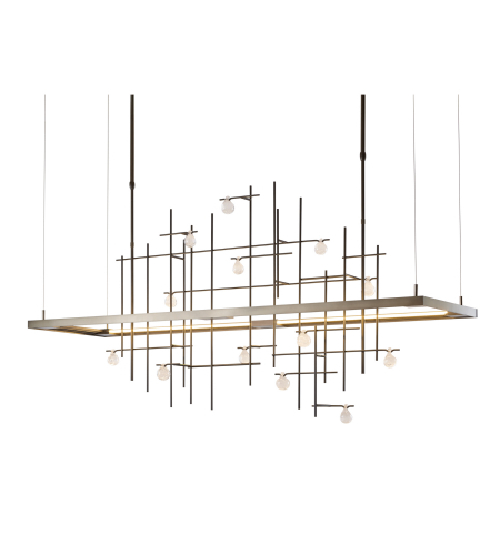 Hubbardton Forge 139751-Led-Long-03-Yg0500 Light Spring Led Pendant Clear Bubble Glass In Mahogany