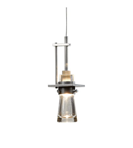 Hubbardton Forge 161060-Skt-Stnd-82-Yg0343 1 Light Erlenmeyer Low Voltage Mini Pendant Clear Bubble Glass In Vintage Platinum