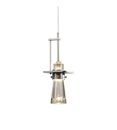 Hubbardton Forge 161065-Skt-Stnd-82-Yg0349 1 Light Erlenmeyer Large Low Voltage Mini Pendant Clear Bubble Glass In Vintage Platinum