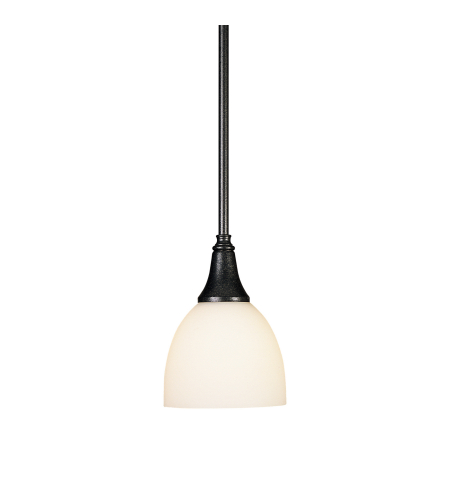 Hubbardton Forge 182640-Skt-Long-03-Gg0001 1 Light Trumpet Mini Pendant Opal Glass In Mahogany