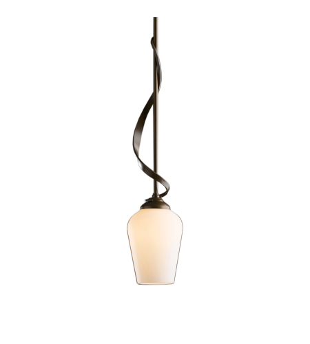Hubbardton Forge 183030-Skt-Long-03-Gg0303 1 Light Flora Down Light Mini Pendant Opal Glass In Mahogany