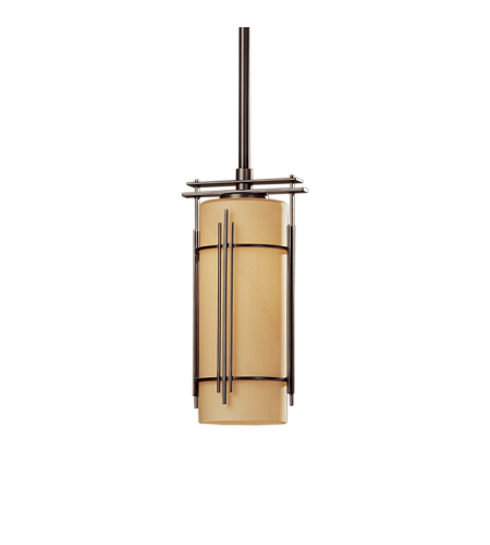 Hubbardton Forge 183550-Skt-Long-03-Gg0118 1 Light Paralline Mini Pendant Opal Glass In Mahogany