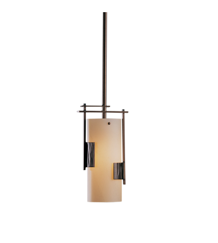 Hubbardton Forge 185400-Flu-Long-03-Gg0075 1 Light Fullered Impressions Mini Pendant Opal Glass In Mahogany