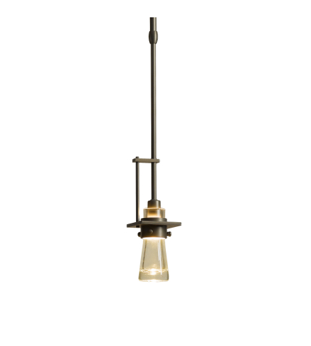 Hubbardton Forge 187100-Skt-Long-03-Yg0343 1 Light Erlenmeyer Small Mini Pendant Clear Bubble Glass In Mahogany