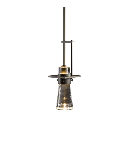 Hubbardton Forge 187150-Skt-Long-03-Yg0349 1 Light Erlenmeyer Mini Pendant Clear Bubble Glass In Mahogany