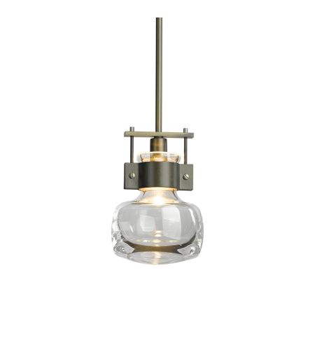 Hubbardton Forge 187330-Skt-Long-03-Zm0448 1 Light Cuff Mini Pendant Clear Glass In Mahogany