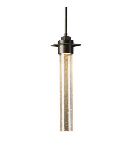 Hubbardton Forge 187930-Skt-Long-03-Ii0268 1 Light Airis Large Mini Pendant Seeded Clear Glass In Mahogany